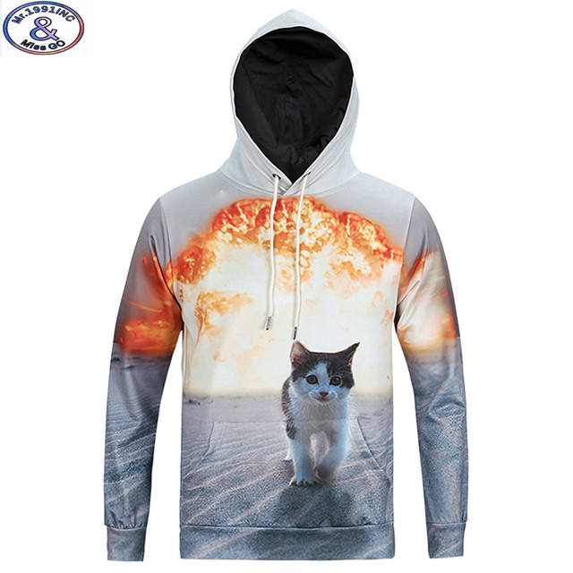 15-20 years big kids brand hooded sweatshirt boys special design cute kitten 3D printed hip hop hoodie teens boys hoody MH6