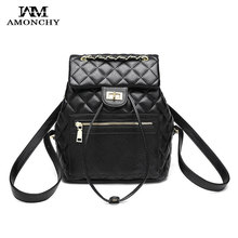 Classic Brand Women Bags Leather Backpacks Black Braided Chains Shoulder Bag Multifunction Diamond Lattice Button Backpack