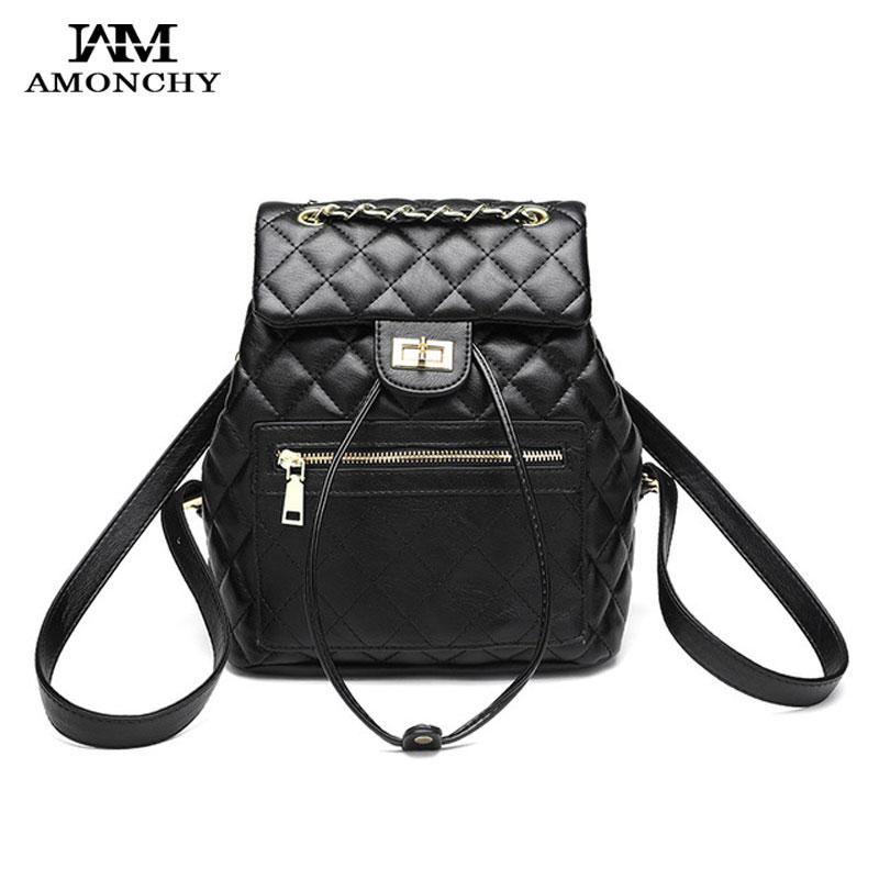 Marque classique femmes sacs en cuir sacs à dos noir tressé chaînes femmes sac à bandoulière multifonction diamant treillis bouton sac à dos