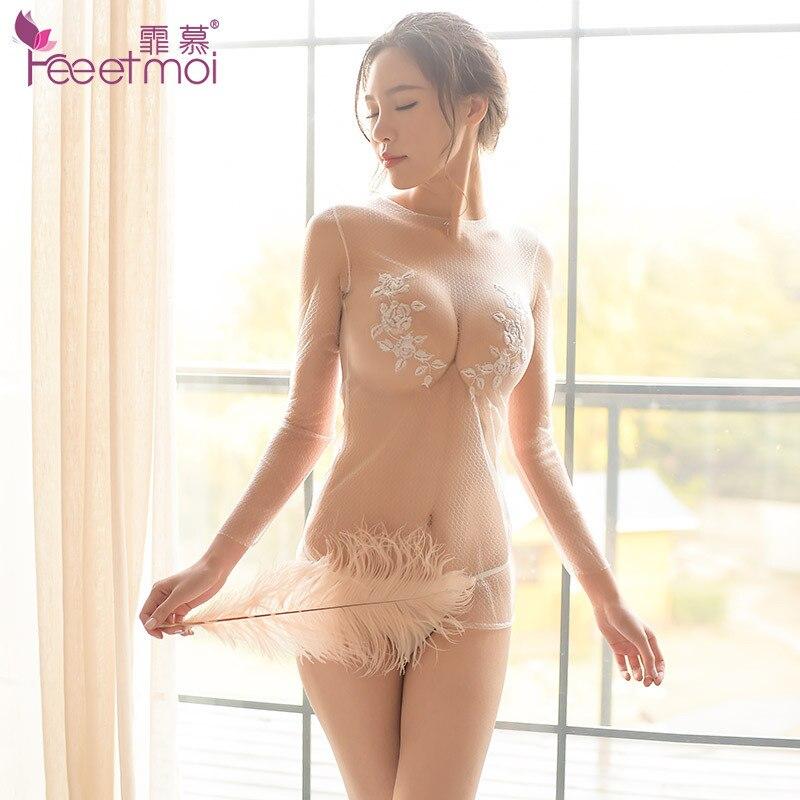 See-through Net Tuch Sexy Erotische Dessous Schwarz Nude Farbe Transparent Floral Babydoll Heißen Sex Kleidung Porno Produkte Negligé