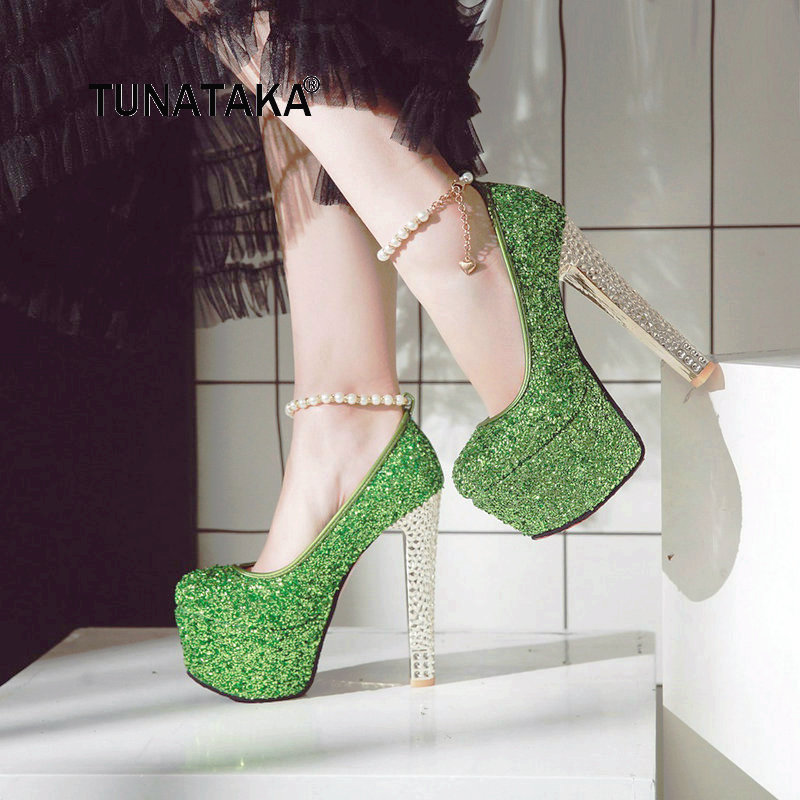 Women Sexy Super High Heel Platform Pumps Fashion One-button Buckle Sequined Dress Party Shoes Red Green Gold