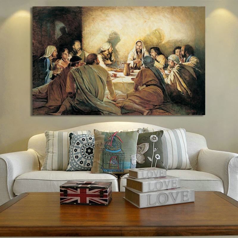 Classical Posters And Prints Wall Art Canvas Painting Jesus In The Last Dinner Decorative Painting For Living Room Home Decor