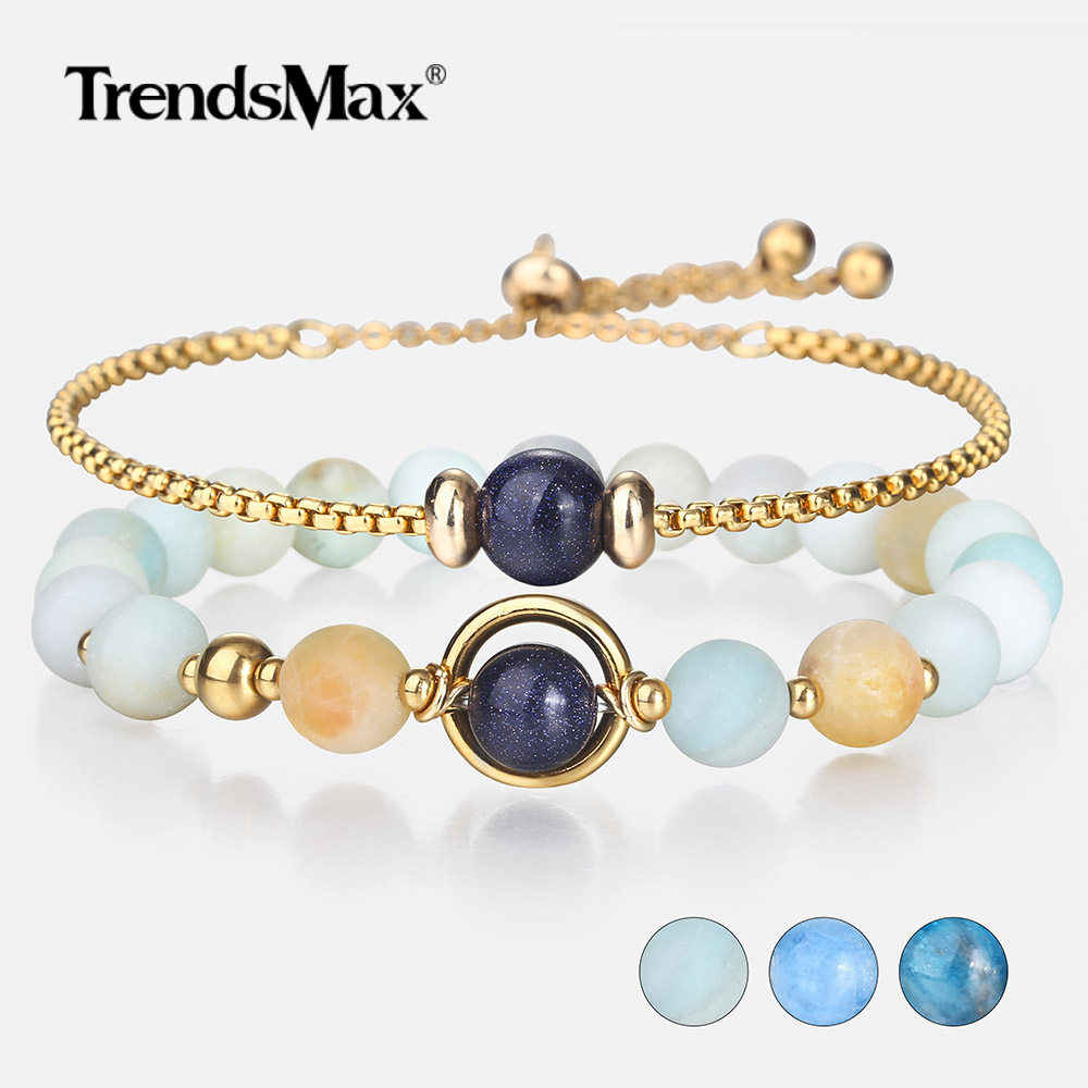 Unique 2Pcs/Set Natural Beads Bracelet for Womens Girls Gold Color Stainless Steel Elegant Chain Adjustable Birthday Gift DBM55