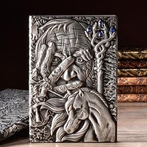 Image 3 - Vintage Magazine cahier Magazine carnet de croquis journal daffaires livre Style médiéval sculpté à la main magicien cadre en relief profond