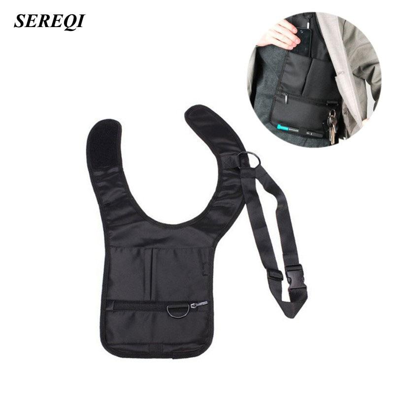 SEREQI New Style Novelty Cool Men Travel Storage Bag FBI Hidden Underarm Pocket Mp3 Passports Mobile Phone Holder Organizer