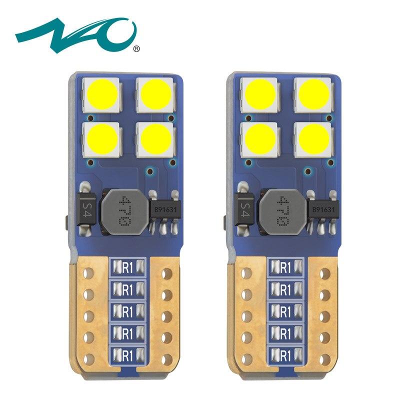 НАО w5w светодиодные лампы Canbus T10 лампы 8smd 3030 фишек 12 В авто светодиодные номерных знаков light 6000 К белый янтарь Красный Кристалл синий