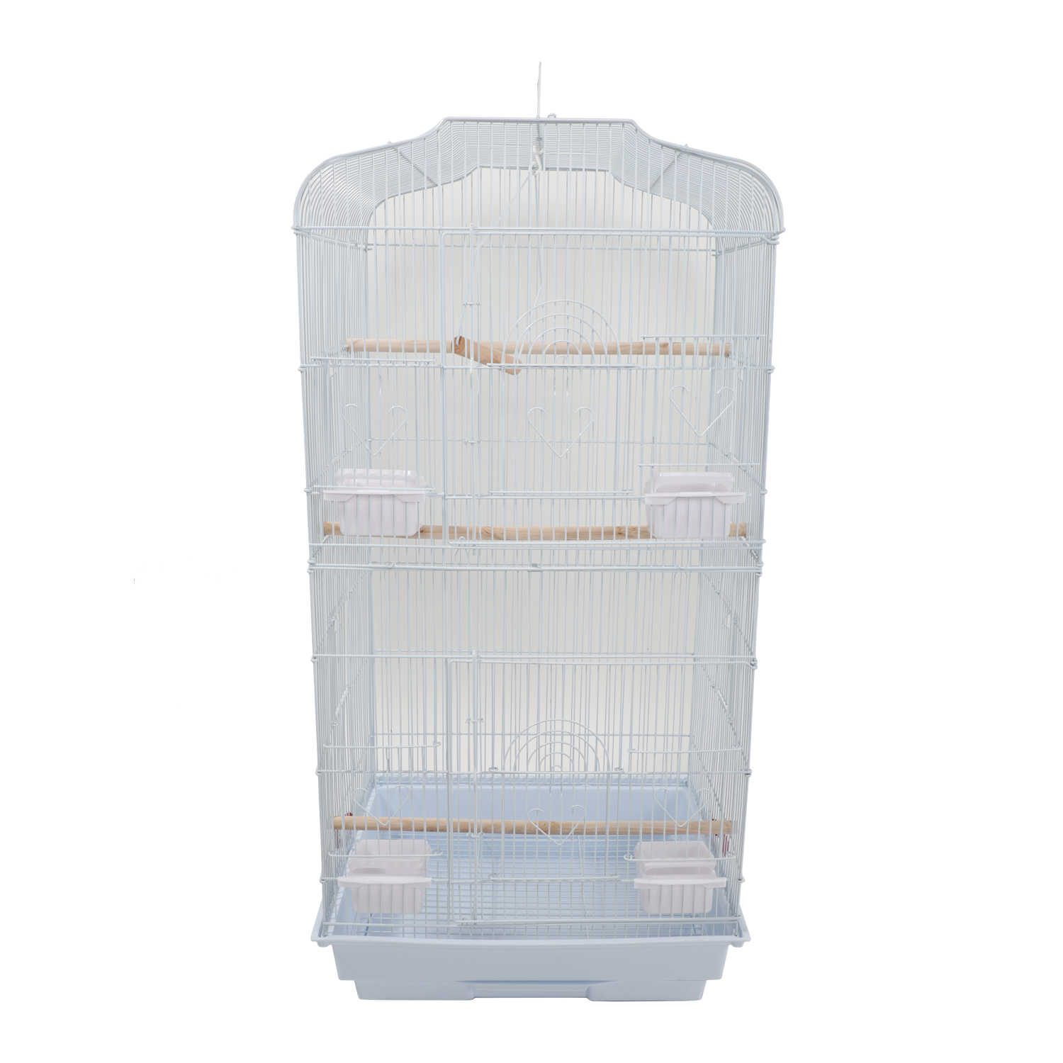 "37"" Large Bird Cages Parrots Canary Parakeet Cockatiel LoveBird Finch Bird Cage with Wood Perches & Food Cups White - US Stock"