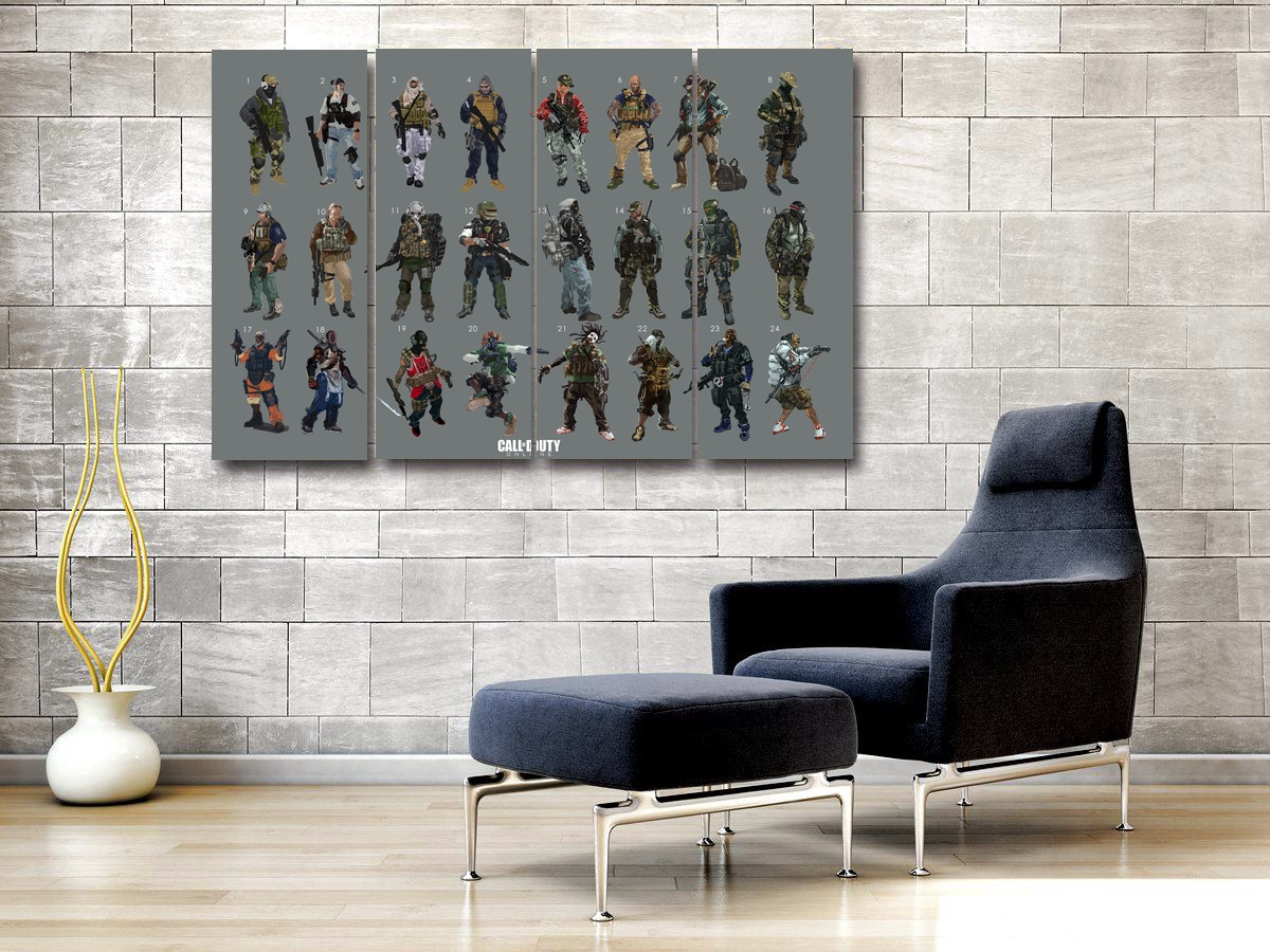 Call of Duty 4 Pieces Poster Room Decor Pictures for Living Room