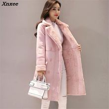 New Women Long Coat Autumn Winter Warm Velvet Thicken Faux Suede Coats Parka Female Solid Double Breasted Jacket Outwear Xnxee