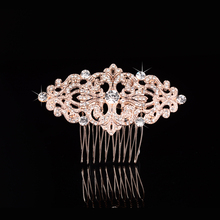 Stunning New Arrival Hot Selling Rose Gold Rhinestones Crystal Flower Leaf Wedding Hair Comb Bridal Hair