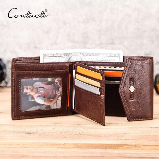 CONTACTS skóra Crazy Horse portfel męski z kieszonką na monety Hasp portfel poziomy Vintage portfel męski