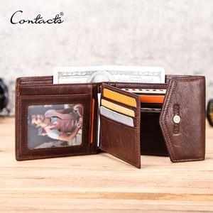 Image 1 - Contacts Crazy Horse Lederen Heren Portemonnee Met Broekzak Hasp Geld Tas Horizontale Vintage Korte Portemonnee Voor Zakelijke Man