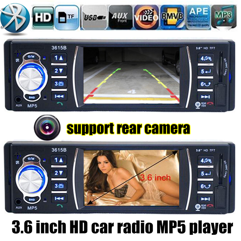 NEW 3.6 inch TFT screen Support Rear Camera Car radio bluetooth player car audio Stereo MP5 movie MP4 12V Video FM USB/SD/MMC car mp5 player 12v car vedio radio 4 inch hdtft screen bluetooth rear view camera stereo fm radio mp4 mp5 audio video usb sd tft