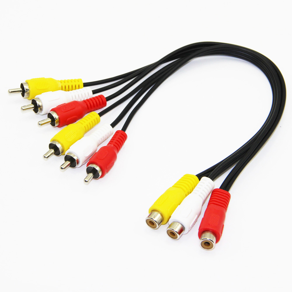 30cm 3RCA Female to Dual 3RCA Male Audio and Video Splitter Cable