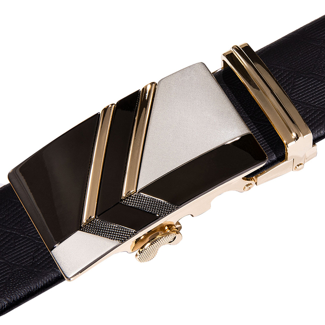 Hi-Tie Brand - Gold Automatic Buckle Genuine Leather Belt 4