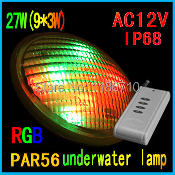 LED Swimming Pool Light 27W(9*3W) RGB PAR56 12V LED Underwater Pool Lamp With Remote Control Outdoor Lighting Free Shipping new brand auto swimming pool cleaner with 70micron filter bag porosity 24dv motor voltage cable15m remote control wall climbing