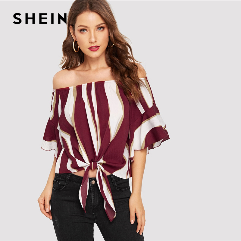 a01037d3898884 SHEIN Beach Color block Knot Bardot Off the Shoulder Striped Top Blouse  Women Elegant Bohemian Multicolor 2019 Spring Blouses-in Blouses   Shirts  from ...