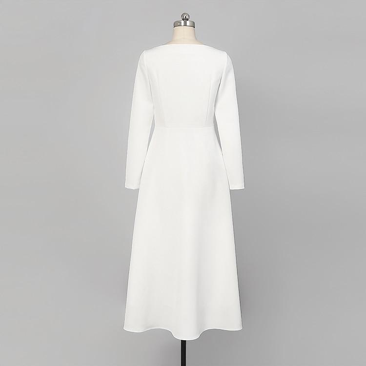 18 Fashion Autumn Ladies Solid Mid-calf A-Line Dress O-Neck Long Sleeve Persperctive Dress Women High Waist A-Line Dress C1818 6