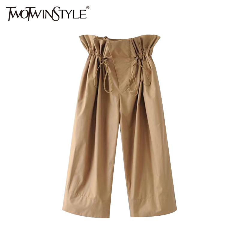 TWOTWINSTYLE Ruffle High Waist Trousers for Women Summer Female   Wide     Leg     Pants   Drawstring Casual Clothes Korean Large Big Sizes