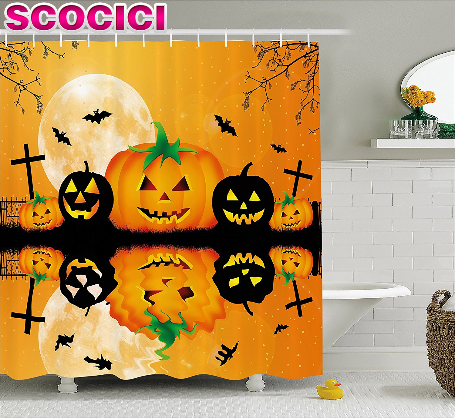 Halloween Decorations Shower Curtain Set Spooky Carved Halloween Pumpkin Decor Full Moon With Bats And Grave