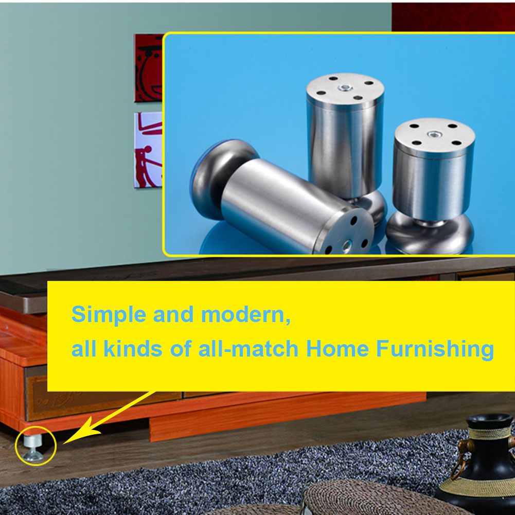 4 Pcs Stainless Steel Adjustable Cabinet Legs TV Cabinet Cabinet Feet Foot Foot Sofa Furniture Foot Pad Thickening Leg LBShippi 4pcs 150mm height furniture legs adjustable 10 15mm cabinet feet silver tone stainless steel leveling feet for table bed sofa