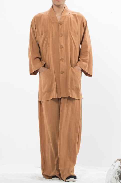 ユニセックス夏 3 分袖禅仏教僧侶少林寺武術服カンフー武道のスーツレイ瞑想制服