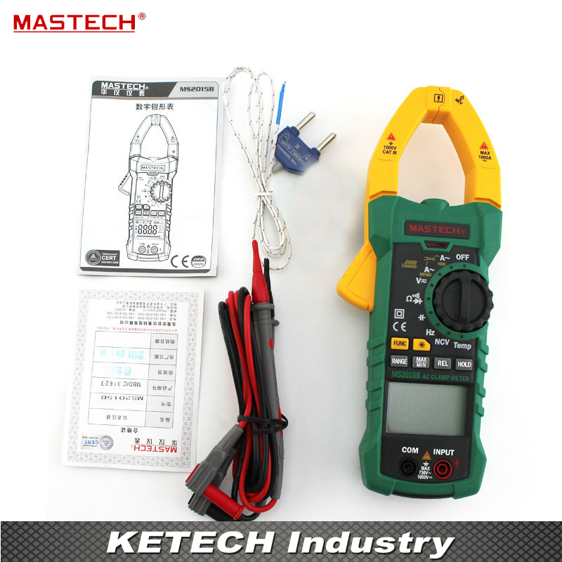 Digital Clamp Meter AC/DC A/V Res Cap Freq Temp True RMS MASTECH MS2015B