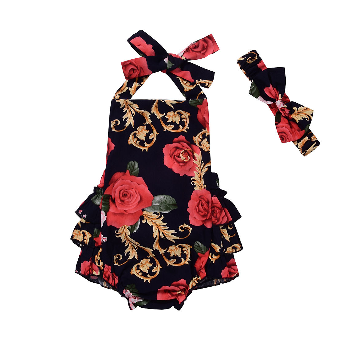 Cute Baby Rompers Summer Newborn Baby Girl Clothes Red Flower Jumper Backless Romper Sleeveless Infantil Girls Jumpsuit Sunsuit