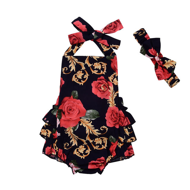 aeb6ba15516f3 Mignon Bébé Barboteuses D été Nouveau-Né Bébé Fille Vêtements Rouge Fleur  Cavalier Dos