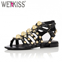 WETKISS New Arrival Punk Style Rivets Sandals Women Genuine Leather Gladiator Sandals Cool Ladies Flat Shoes
