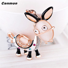 1PC Charm Little donkey Keychain Crystal Keyring Rhinestone Pendant Bag Key Chain Ring Car key chains accessory