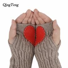 f572701299d888 Rot Herz Finger Handschuhe Halb Feiner Paar Dicke Wolle Mischung stricken  Handschuhe Lange Arm Wärmer Geschenk