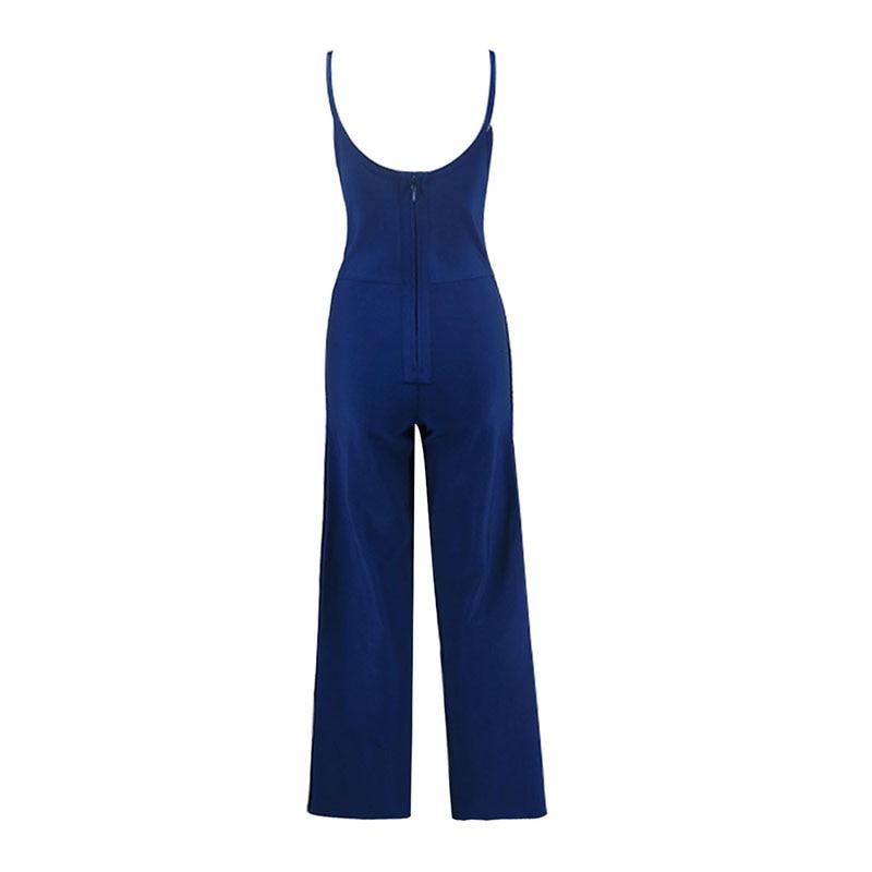 Col Gros Nouvelle Bandage V 2018 Dropshipping Sexy Hl252 Sans Sangle Salopette Bouton Nu Dos Bleu Manches Femmes Mode aqvOP4xdq