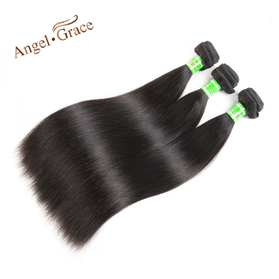 Angel Grace Hair Malaysian Straight Hair 3 Bundles Natural Color Remy Hair 100% Human Hair Weave Bundles 10-28 Inches ...