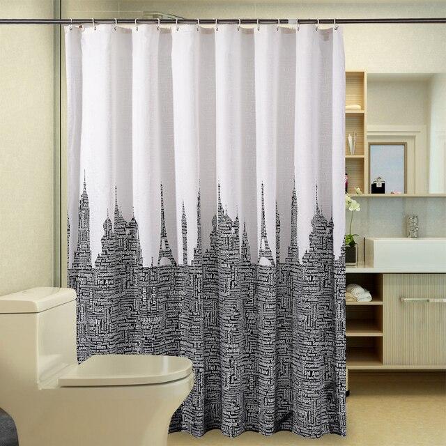 Newest Retro Eiffel Tower letter Polyester Shower Curtain Bathroom ...