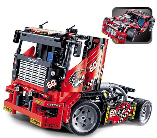 608pcs 2 in 1 High tech racing truck children's science and education inserted boys and girls building blocks toys