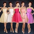 ZX558#wholesale 2016 new fashion short prom Bra toast the bride married red tutu performance bridesmaid dress