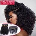 2016 cabelos cacheados crespo com frontal Indiano Kinky Curly Virgem Cabelo Com Fechamento Frontal 2/3/4 pacotes kinky frontal encaracolado com feixes
