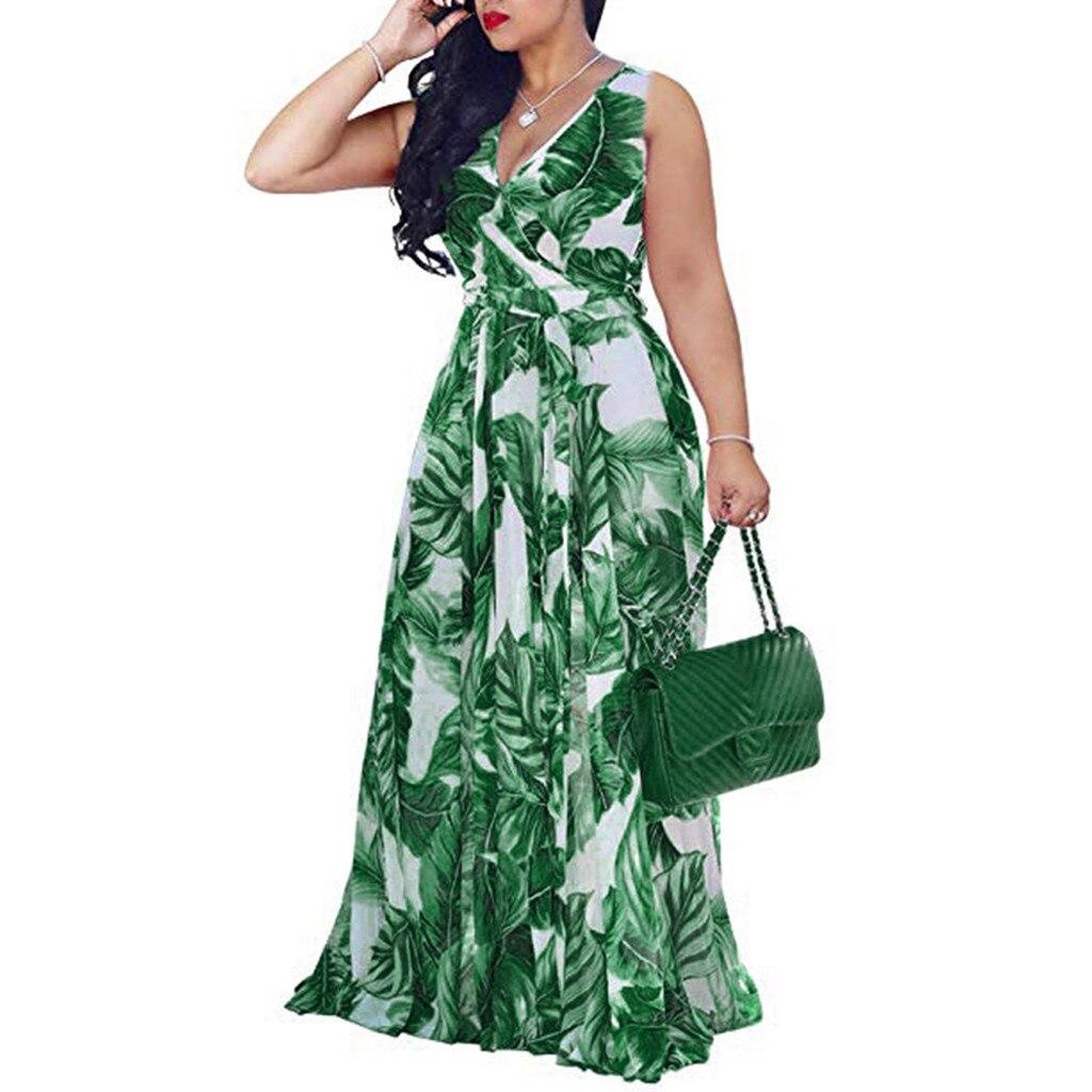 Plus Size 5XL Beach Dress Women Summer 2020 Belt Split Hippie Boho Sundress Spaghetti Strap Sexy Long Women Dress Summer Green
