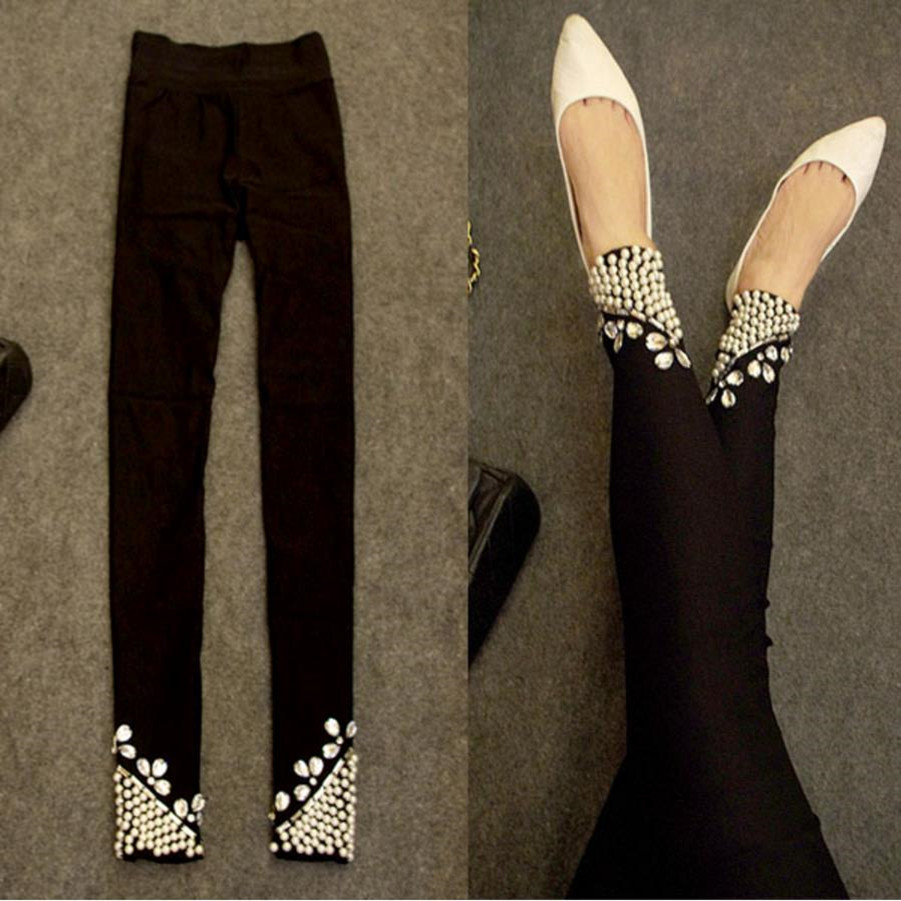 Spring Autumn New Women Skinny Beading Diamonds Pearl Stretch Leggings Pencil Pants