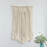 Hand woven Wall Tapestry Cotton Macrame Wall Hanging Tassels Hanging Ornaments Meter Box Boho Decor