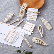 2019 Newest Women Pearl Hair Clip Snap Barrette Elegant Korean Design  Metal Hairpin Hair Styling Accessories Handmade For Girls billie eilish fan art poster canvas painting print living room home decor modern wall art oil painting salon pictures framework