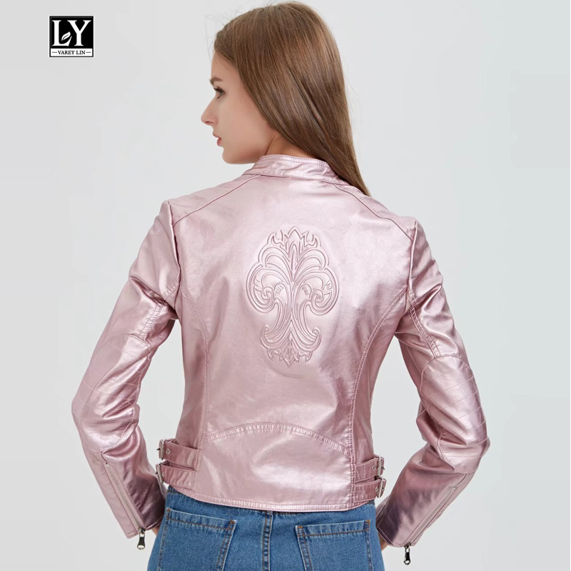Ly Varey Lin New Stand Collar Long Sleeve Faux Soft   Leather   Short Women Jacket Pu Motorcycle Slim Zipper Jacket Female Outerwear