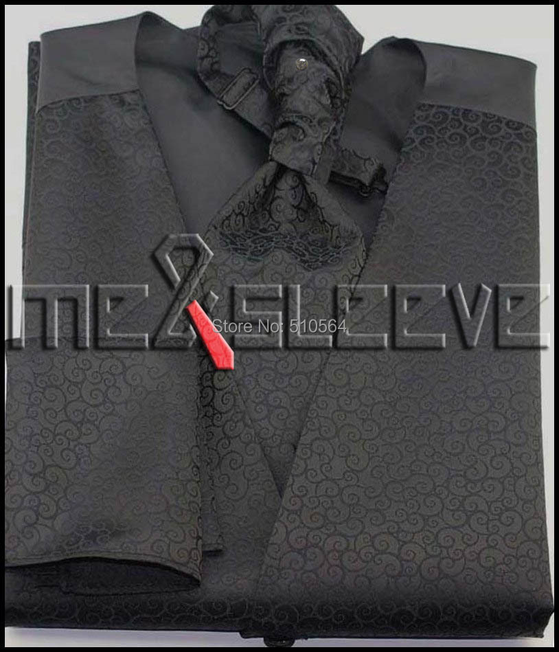 Wholesale Free shipping Single Breast Men Vest Waistcoat black pattern vest(vest+bowtie+Handkerchief+cufflinks)