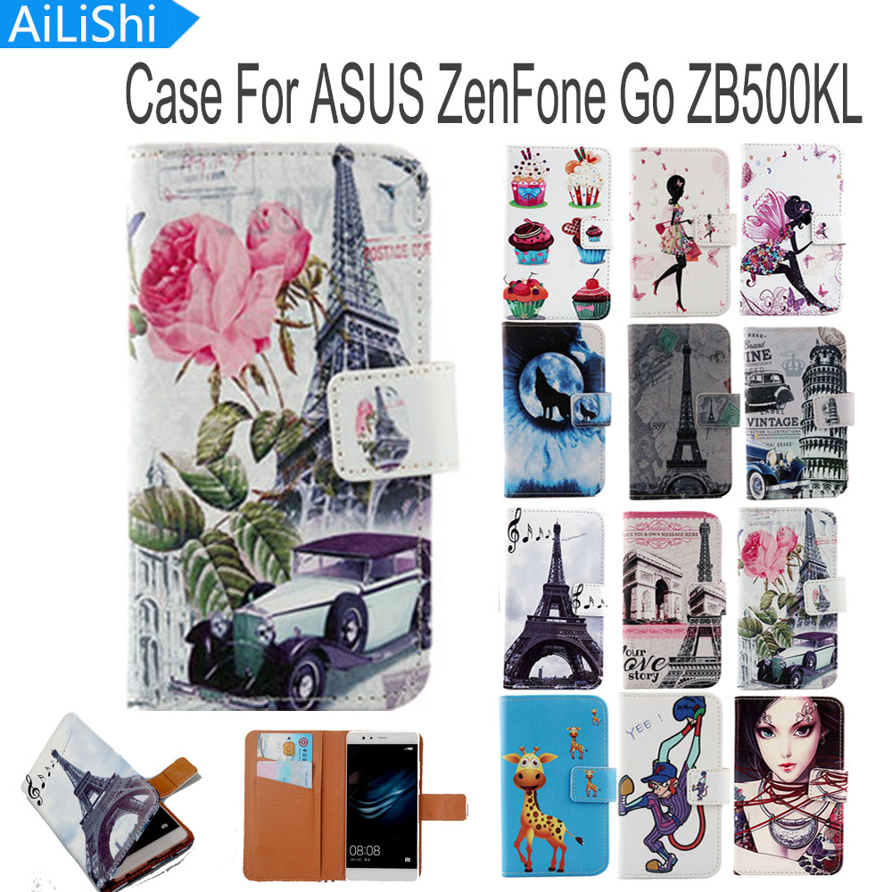 AiLiShi Book Style Flip PU Leather Case For ASUS ZenFone Go ZB500KL Case Hot Sale Cartoon Painted Protective Cover Skin In Stock