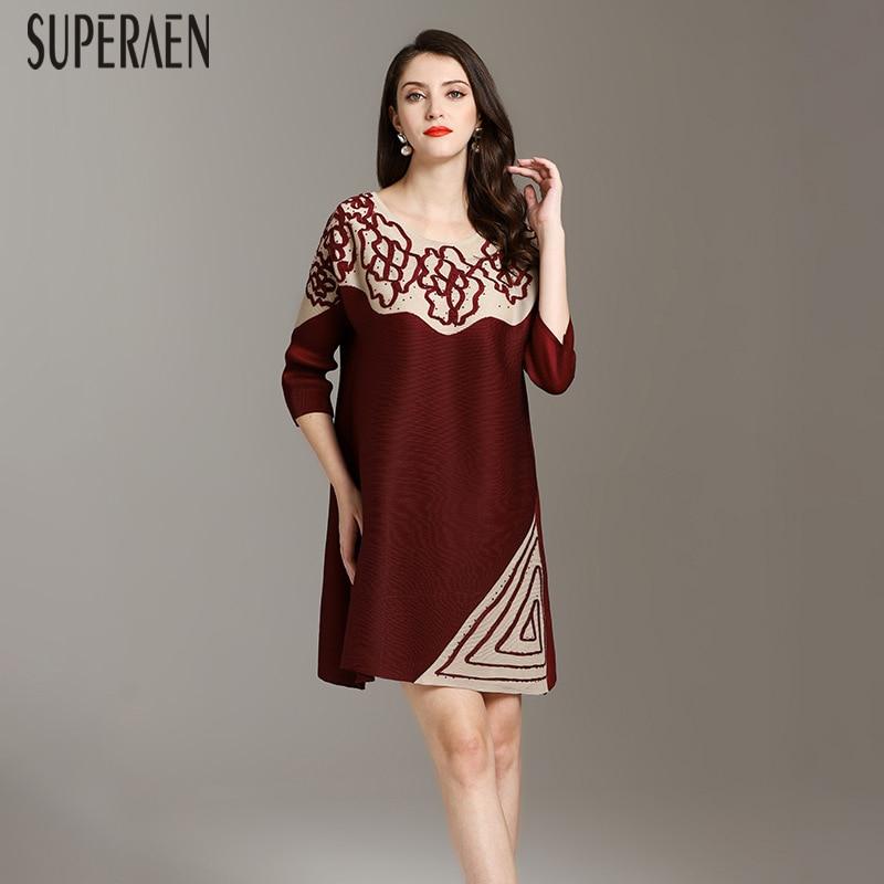 a33a04999 SuperAen модное платье женское 2019 летнее платье новое дикое Повседневное  платье женское свободное большого размера круглый