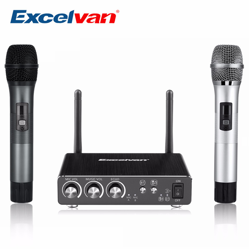 Excelvan K28 Wireless Dual Channel Microphone Adjustable Echo Volume Digital Low Distortion For Home Entertainment Conference