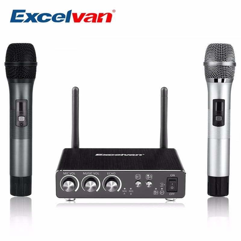 K28 Excelvan Wireless Dual Channel Microfono Volume Regolabile Eco Digitale A Bassa Distorsione Per L'home Entertainment Conferenza