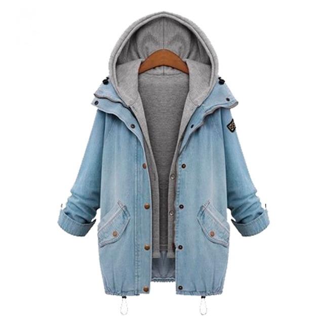 Hot 2019 Plus velikost M-4XL dámské džínové bundy módní podzim zima dlouhý rukáv dámská bunda nadměrná příležitostná džínová bunda