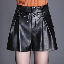 Shuchan Leather Shorts Female Autumn Winter New Slim High Waist Loose Wide Leg Women 2018  Faux 7678